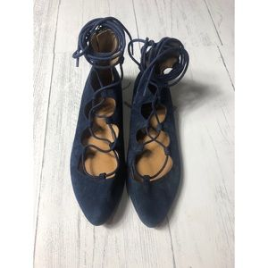 Nine West Lace Up Blue Suede Flats 7.5